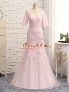 Floor Length Zipper Mother Of The Bride Dress Baby Pink for Prom and Military Ball and Beach with Lace and Appliques