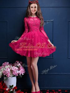 Glittering 3 4 Length Sleeve Lace Up Mini Length Beading and Lace and Appliques Bridesmaid Dresses