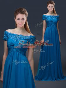 Hot Sale Floor Length Lace Up Mother Of The Bride Dress Royal Blue for Prom and Party with Appliques