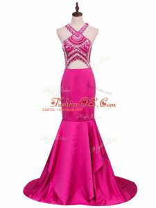 Attractive Hot Pink Mermaid Elastic Woven Satin V-neck Sleeveless Beading Backless Prom Party Dress Brush Train