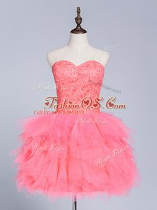 Sleeveless Mini Length Lace and Appliques Lace Up Ball Gown Prom Dress with Watermelon Red