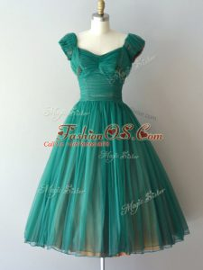 Wonderful Teal V-neck Zipper Ruching Bridesmaid Dresses Cap Sleeves