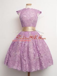 Noble Lilac Ball Gowns Belt Bridesmaid Dresses Lace Up Lace Cap Sleeves Knee Length