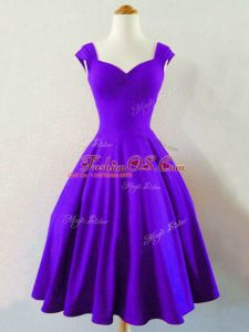 Traditional Purple Lace Up Wedding Party Dress Ruching Sleeveless Knee Length