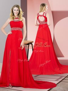Cute Red Scoop Backless Beading Celebrity Dress Brush Train Sleeveless