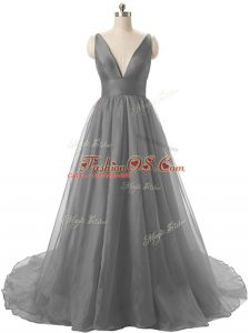 Latest Grey A-line Organza V-neck Sleeveless Ruching Backless Prom Evening Gown Brush Train