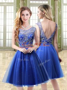 Royal Blue A-line Beading Backless Tulle Sleeveless Mini Length