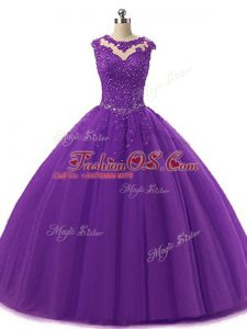 Deluxe Floor Length Dark Purple Quinceanera Gowns Tulle Sleeveless Beading and Lace