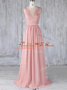 Extravagant Scoop Sleeveless Bridesmaids Dress Sweep Train Appliques Pink Chiffon