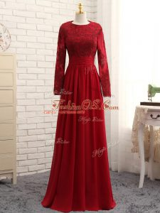 Scoop Long Sleeves Mother Of The Bride Dress Floor Length Lace and Appliques Wine Red Chiffon