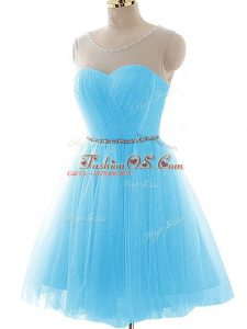 Chic Aqua Blue Lace Up Teens Party Dress Beading and Ruching Sleeveless Mini Length