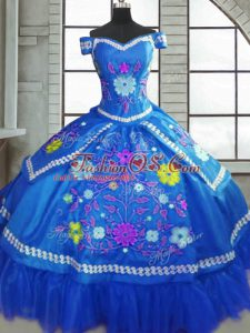 Blue Ball Gowns Taffeta Sweetheart Short Sleeves Beading and Embroidery Floor Length Lace Up Quinceanera Dresses