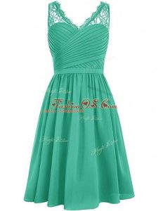 Trendy Knee Length Side Zipper Bridesmaid Gown Green for Prom and Party and Wedding Party with Lace and Ruching