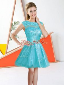 Sleeveless Organza Knee Length Backless Quinceanera Court Dresses in Aqua Blue with Beading and Lace