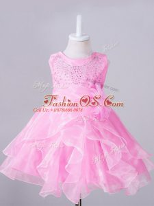 Fashionable Organza Scoop Sleeveless Zipper Beading and Hand Made Flower Little Girl Pageant Dress in Rose Pink
