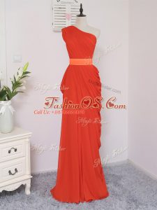 Coral Red Sleeveless Pick Ups Floor Length Quinceanera Court Dresses