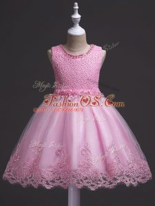 Low Price Rose Pink Zipper Scoop Lace Little Girls Pageant Gowns Tulle Sleeveless