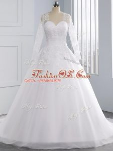 High Class Sleeveless Appliques Lace Up Wedding Dress with White Court Train
