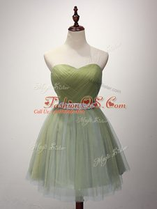 Tulle Sleeveless Mini Length Bridesmaid Gown and Beading and Ruching