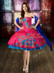 Sexy Hot Pink Military Ball Dresses For Women Prom and Party and Military Ball with Beading and Embroidery Strapless Sleeveless Lace Up