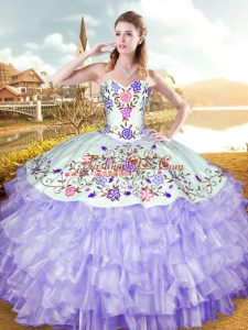 Glorious Sweetheart Sleeveless Organza and Taffeta Sweet 16 Quinceanera Dress Embroidery and Ruffled Layers Lace Up