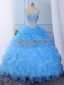 Baby Blue Sleeveless Beading and Embroidery and Ruffled Layers Floor Length Quince Ball Gowns