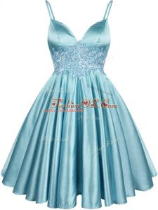 Trendy Spaghetti Straps Sleeveless Wedding Party Dress Knee Length Lace Aqua Blue Elastic Woven Satin