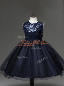 Stunning Navy Blue Zipper Child Pageant Dress Sequins and Hand Made Flower Sleeveless Knee Length
