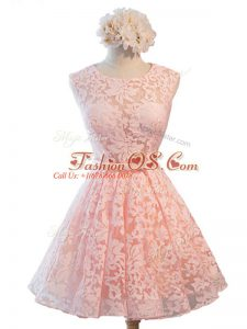 Simple Pink Lace Up Quinceanera Court Dresses Belt Sleeveless Knee Length