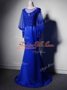 Royal Blue Elastic Woven Satin Clasp Handle Mother Of The Bride Dress Long Sleeves Brush Train Beading and Lace and Appliques