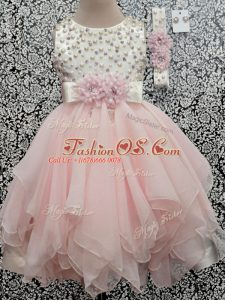 Scoop Sleeveless Kids Pageant Dress Asymmetrical Beading and Hand Made Flower Baby Pink Chiffon