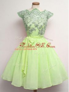 Super Yellow Green Scalloped Neckline Lace and Belt Wedding Party Dress Cap Sleeves Lace Up