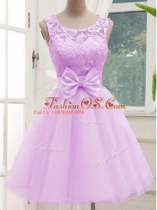 Scoop Sleeveless Wedding Party Dress Knee Length Lace and Bowknot Lilac Tulle