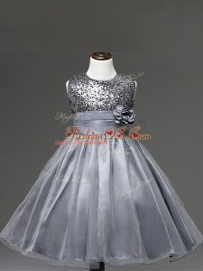 Silver Zipper Pageant Gowns For Girls Sequins and Hand Made Flower Sleeveless Knee Length