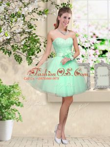 Apple Green Sleeveless Knee Length Lace and Belt Lace Up Wedding Guest Dresses