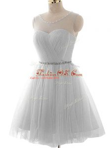 Unique Grey Evening Dress Prom and Party and Sweet 16 with Beading and Ruching Scoop Sleeveless Lace Up