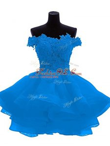 Sleeveless Mini Length Lace and Appliques and Ruffles Zipper Custom Made with Blue