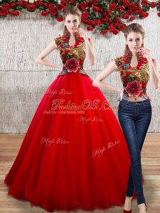 Delicate Floor Length Red Ball Gown Prom Dress High-neck Sleeveless Lace Up