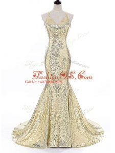 Custom Designed Gold Mermaid Sequined Straps Sleeveless Sequins Backless Evening Dress Brush Train
