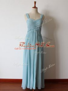 Floor Length Aqua Blue Bridesmaids Dress Chiffon Sleeveless Ruching