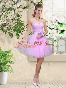 Deluxe Sleeveless Knee Length Lace and Belt Lace Up Bridesmaid Dress with Lavender