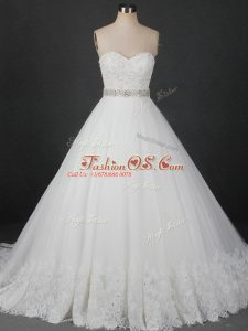 White Sleeveless Brush Train Beading and Lace Wedding Dresses