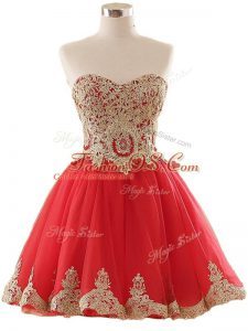 Low Price Tulle Sweetheart Sleeveless Lace Up Appliques Military Ball Dresses in Red