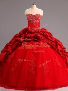 Red Sleeveless Taffeta and Tulle Court Train Lace Up Sweet 16 Dresses for Military Ball and Sweet 16 and Quinceanera