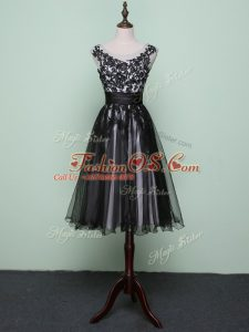 Chic Black Zipper Dress for Prom Lace and Appliques Sleeveless Knee Length