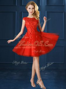 Most Popular Knee Length A-line Cap Sleeves Red Wedding Guest Dresses Lace Up