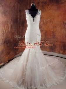 Elegant Side Zipper Wedding Gowns White for Wedding Party with Beading and Lace Court Train