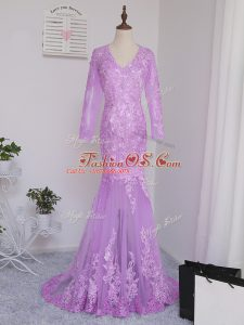 Extravagant Lilac Tulle Side Zipper Mother Of The Bride Dress Long Sleeves Brush Train Lace and Appliques