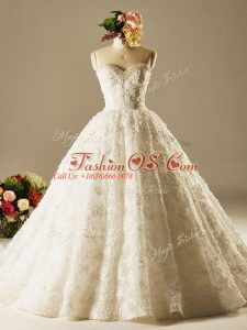 Free and Easy Sleeveless Beading and Lace Lace Up Bridal Gown with White Brush Train