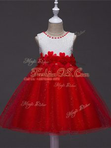 Stylish Scoop Sleeveless Zipper Girls Pageant Dresses Wine Red Tulle